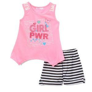 Neon Pink Side tail top & Black Stripe short set